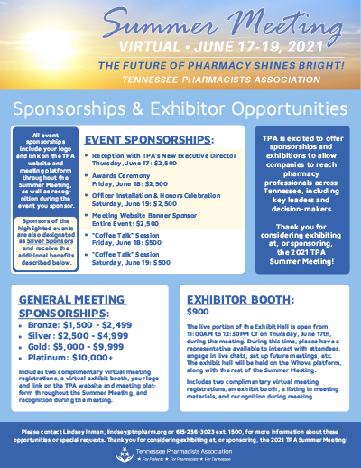 TPA 2021 Summer Meeting Exhibitor & Sponsorship Opportunities