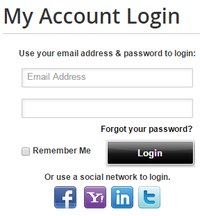My Account Login screenshot